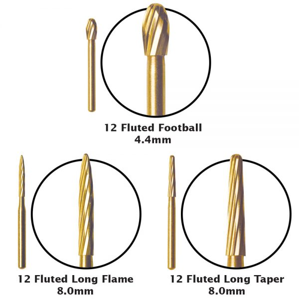 12-Fluted-Debonding-Carbide-Burs-Football-Long-Flame-Long-Taper